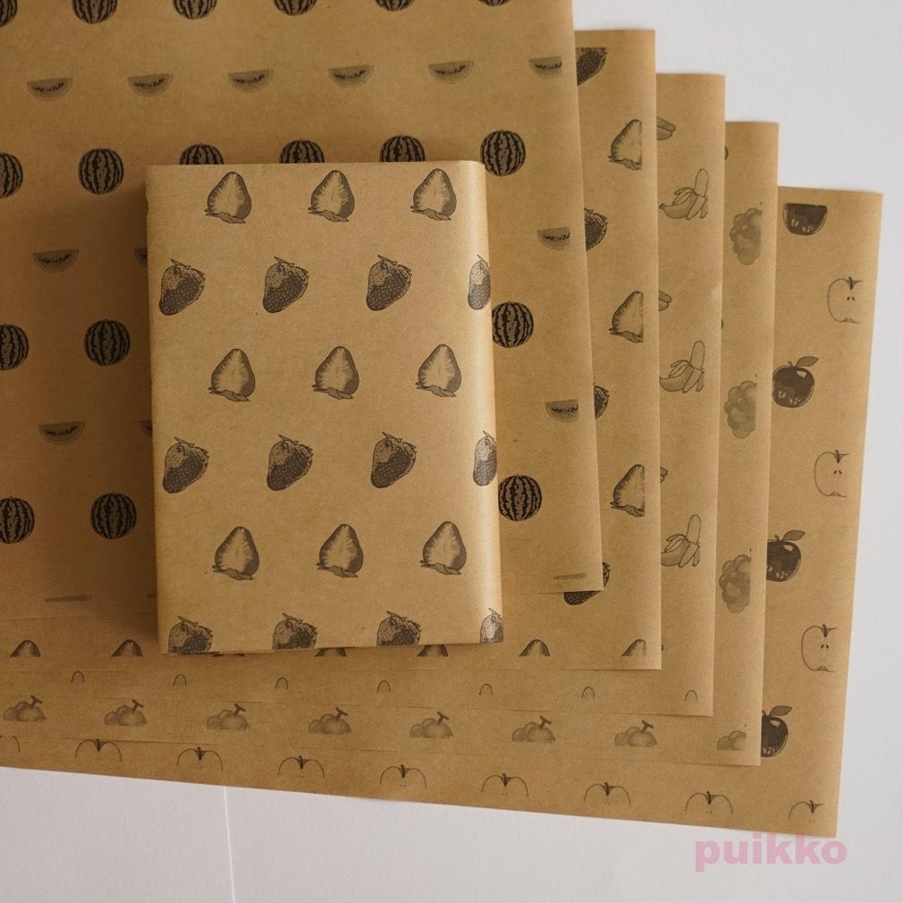 紙製ブックカバー フルーツ(モノクロ)