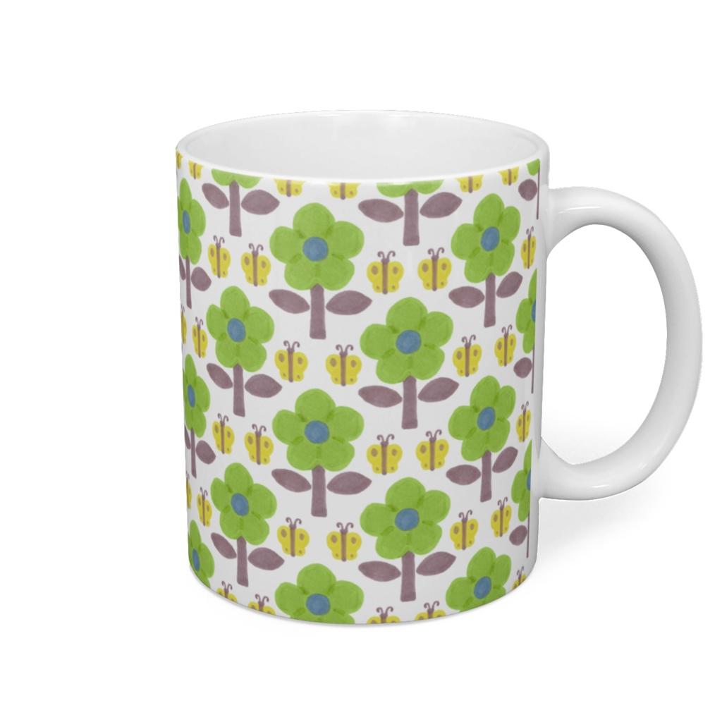 花と蝶 マグカップ 黄緑