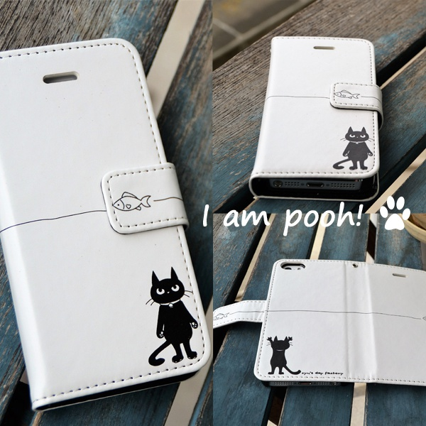 黒猫ぷーちゃん 手帳型iphoneケース