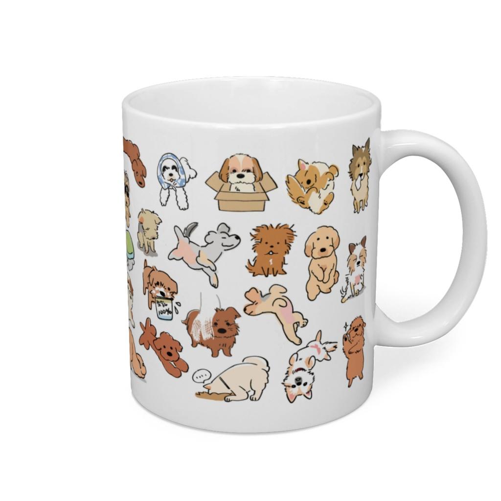 (保護犬支援)おもしろポーズわんこマグカップ