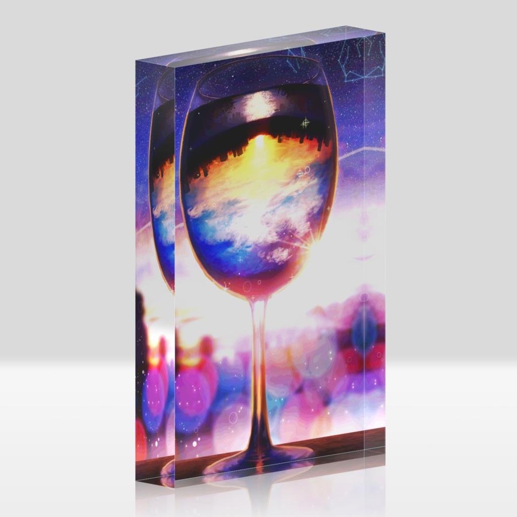 ワイングラスの夕景アクリルブロック