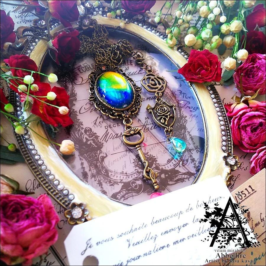 虹色の宝飾ネックレス(金古美)-Vintage-