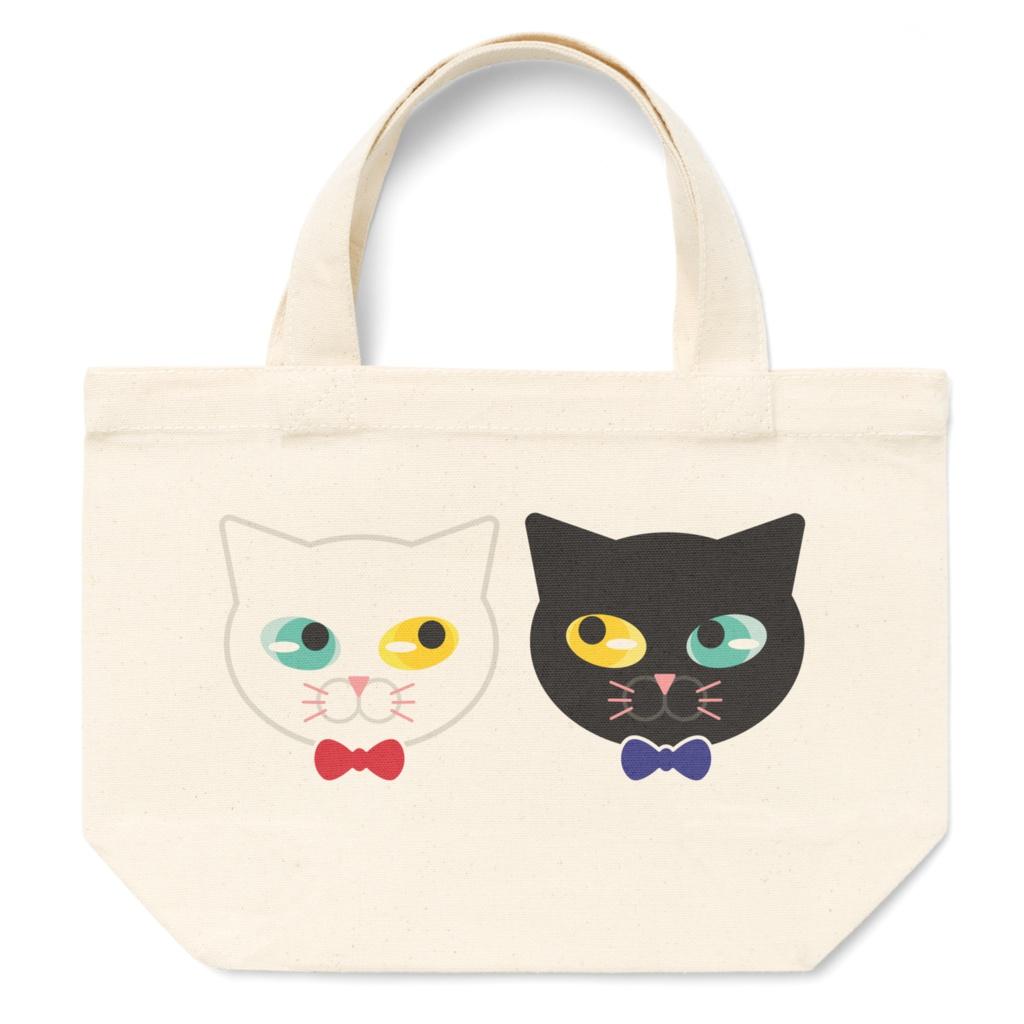 黒ネコと白ネコのトートバッグ