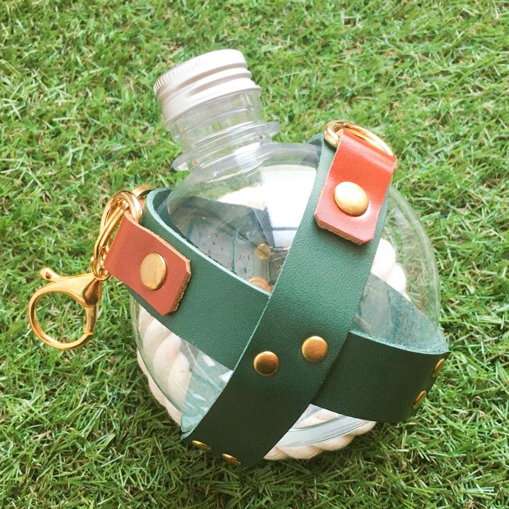PETボトル/革】探索水筒_5・緑色