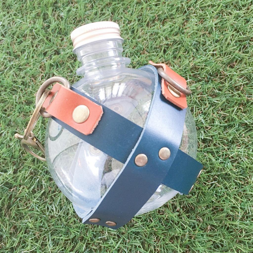 PETボトル/革】探索水筒_6・ネイビー