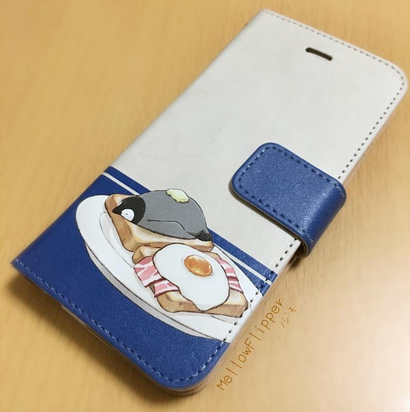PENGUIN FOOD「朝ごはん」  iphone 手帳型ケース