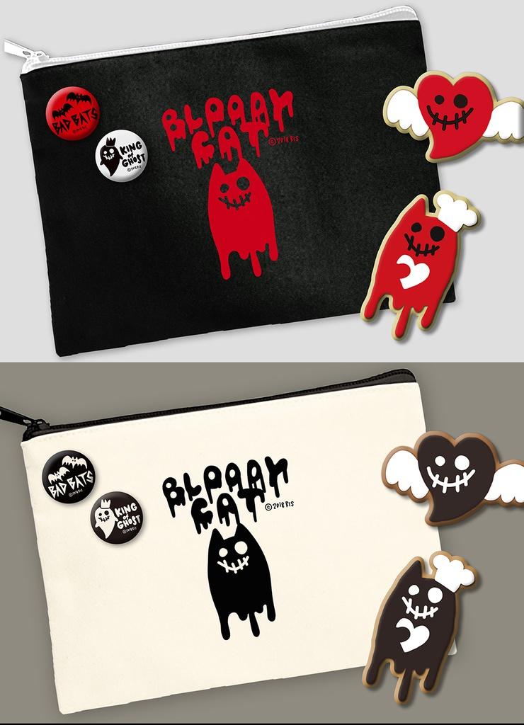 【大小ポーチ2セット割】ブラッティキャットのバレンタイン ポーチ & アイシングクッキーセット 缶バッヂ付
