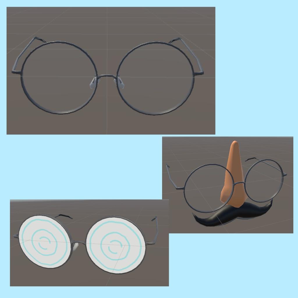 [3D小物]丸眼鏡セット