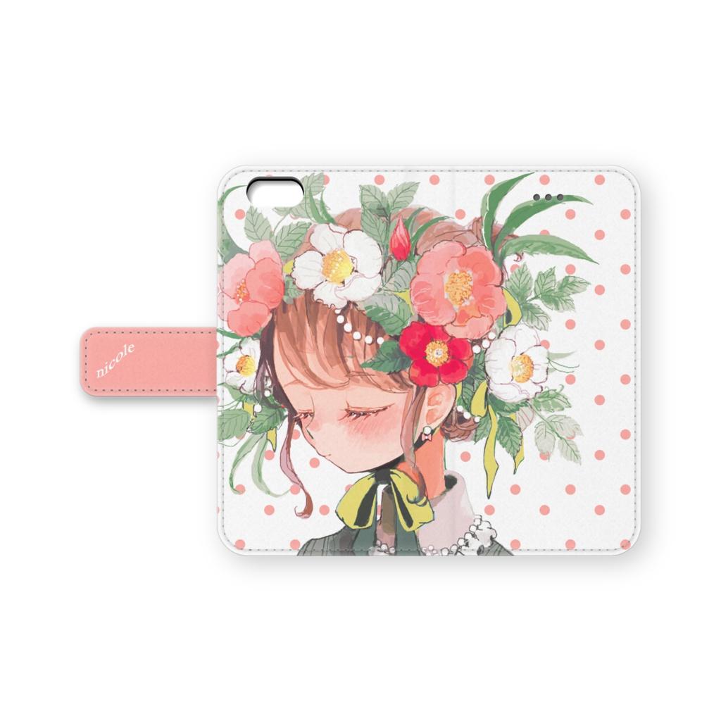 少女(ボタニカル/ドット)手帳型iPhoneケース