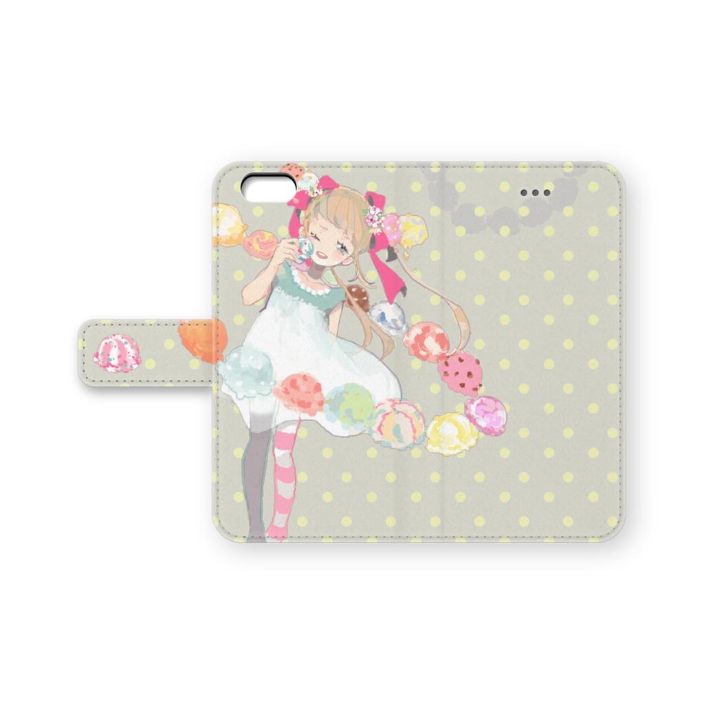 少女(アイス/ドット)手帳型iPhoneケース
