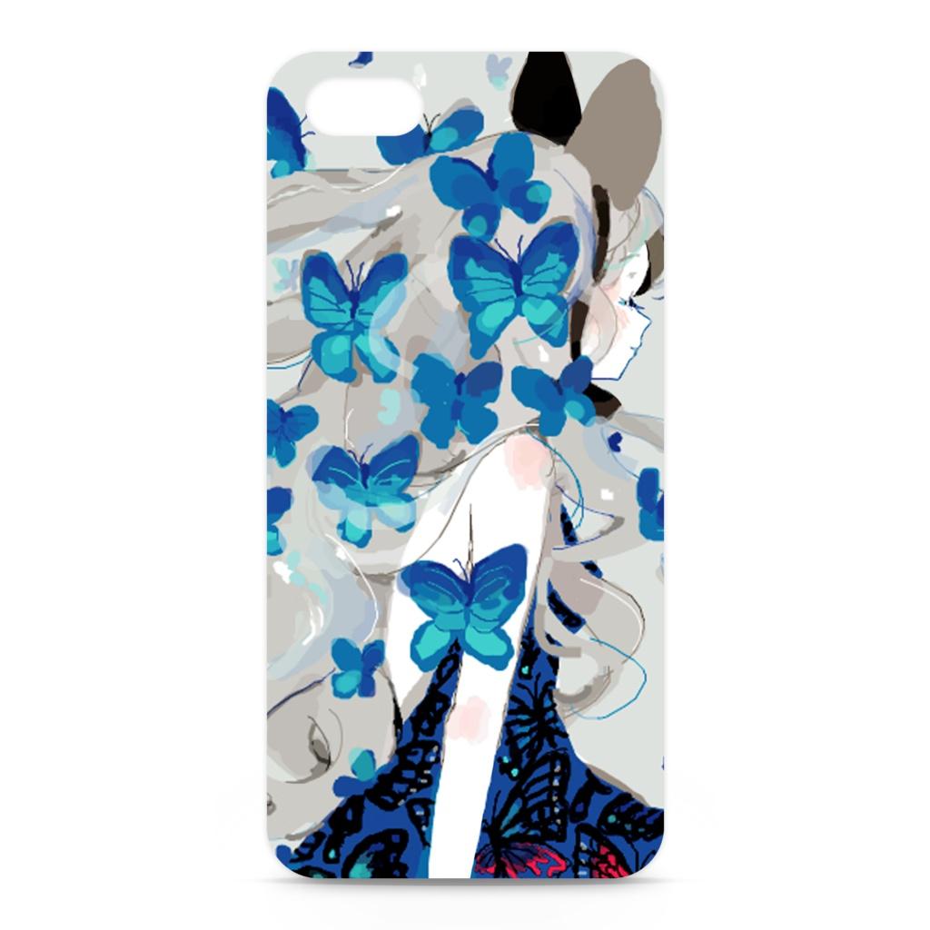 少女(青い蝶)iPhoneケース