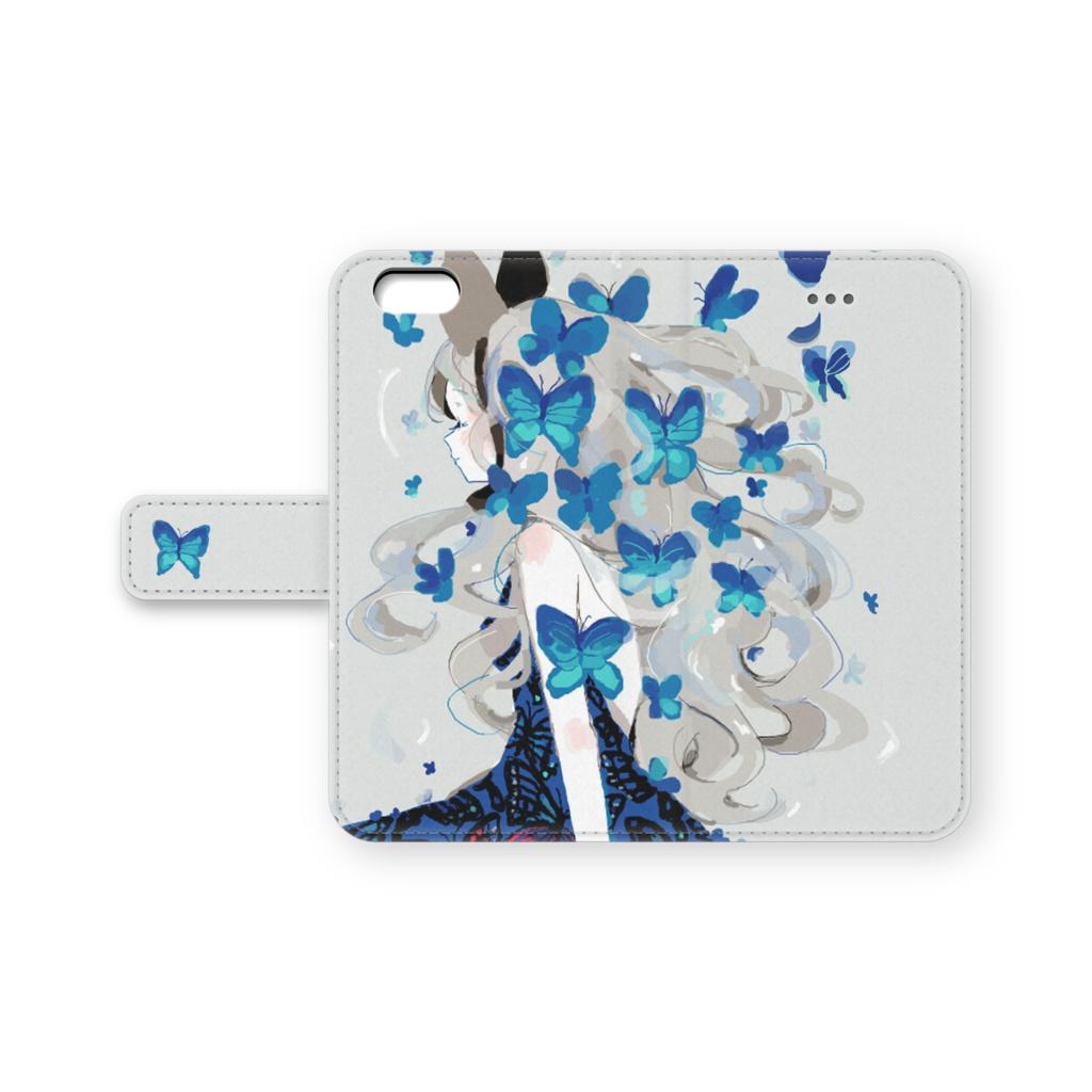少女(青い蝶)手帳型iPhoneケース