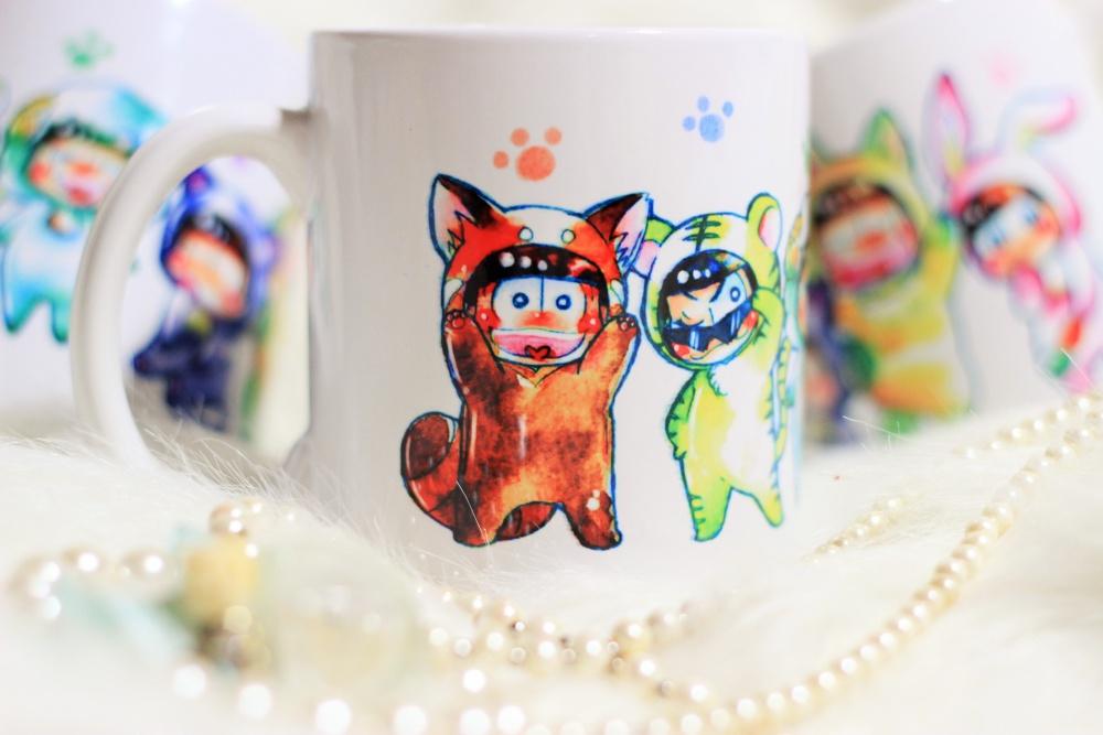 【完売】ケモ松水彩絵マグカップ