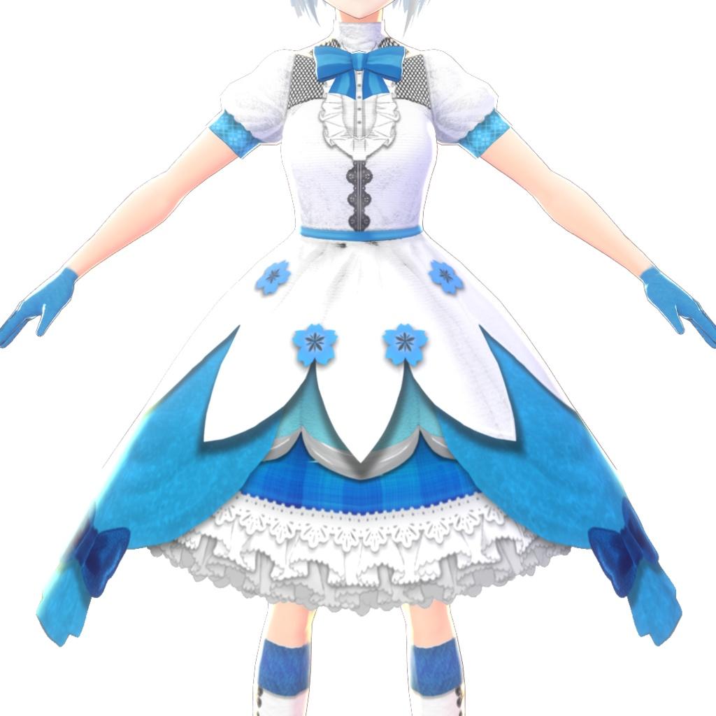 【Vroid】アイドル風ドレスセット【水色ver】