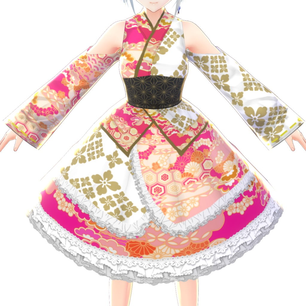【VRoid】マゼンタピンク浴衣ドレス