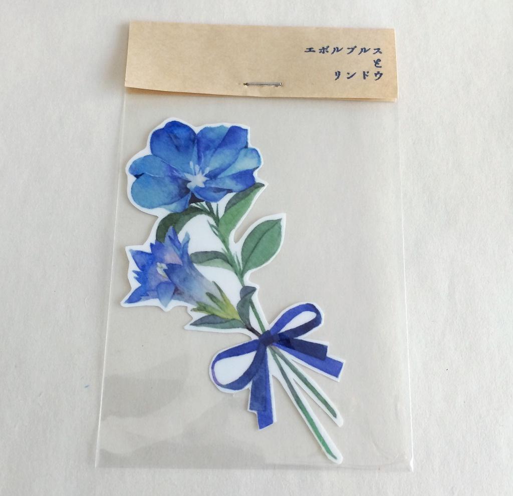 透明ステッカー✶青い花