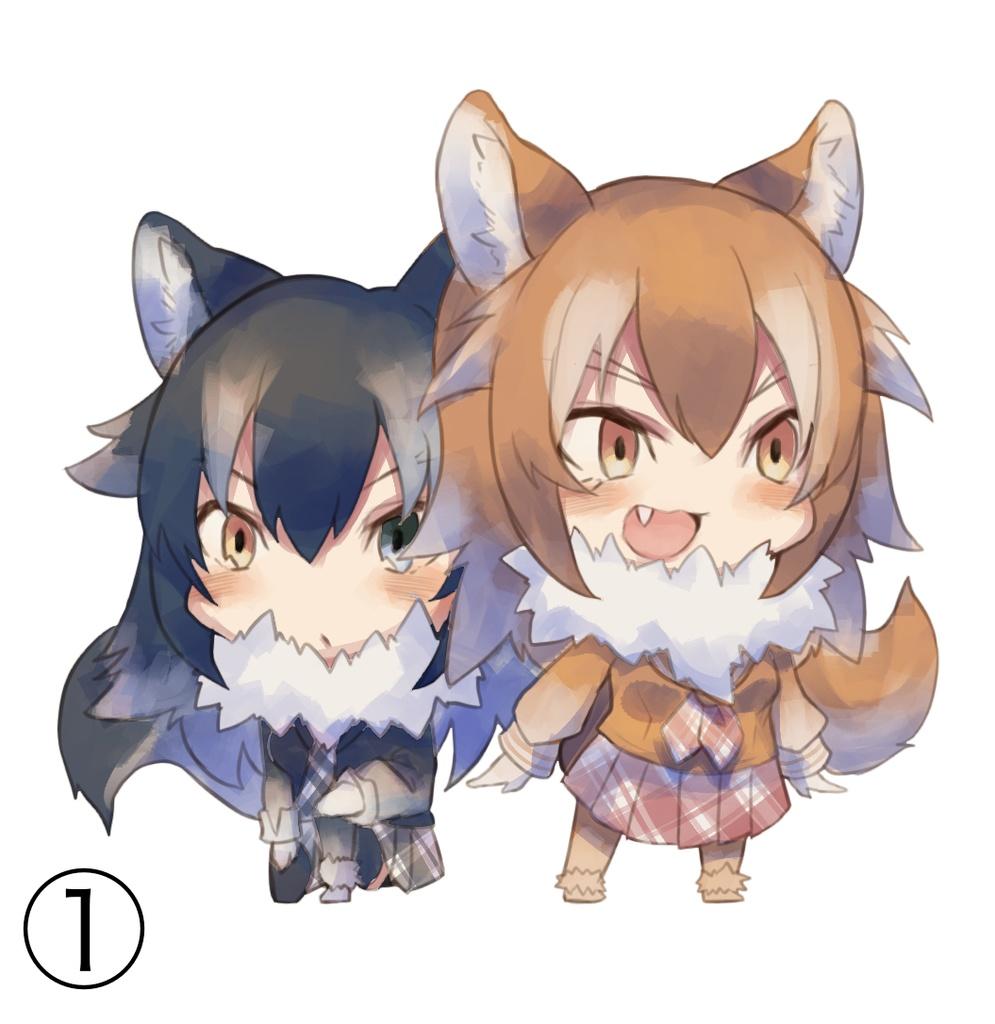 オオカミアニマルガールのアクリルキーホルダー