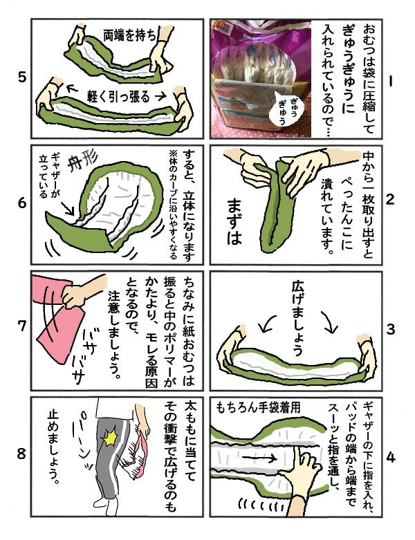 DL【介護】大人用テープ式おむつの付け方漫画8ページ(片面)