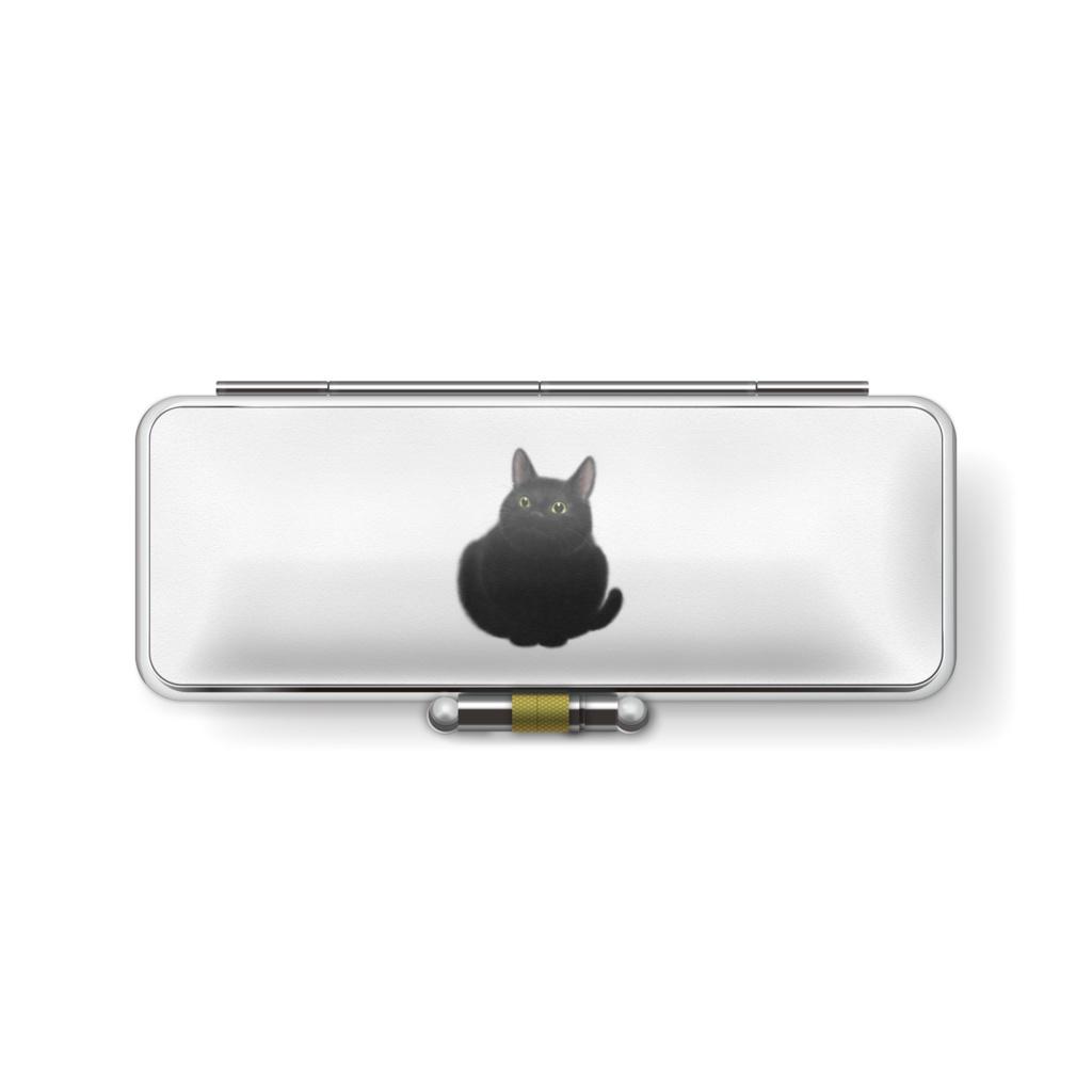 おすわり黒猫印鑑ケース うらおもて