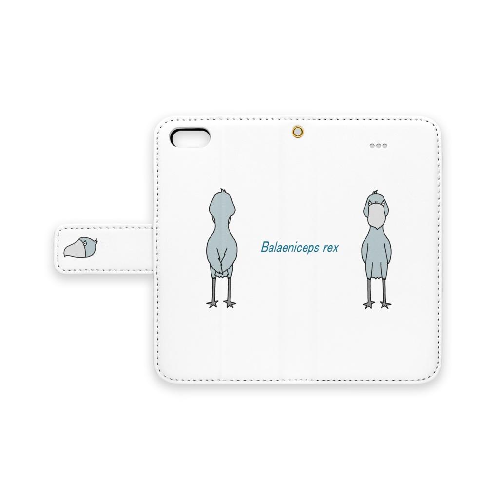ハシビロコウ 手帳型iPhoneケース(ベルトあり)