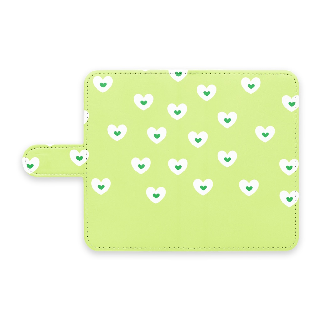 手帳型Androidケース グリーンハート