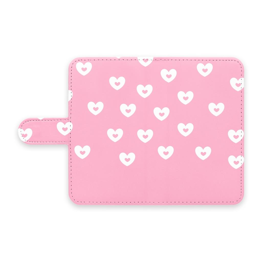 手帳型Androidケース ピンクハート