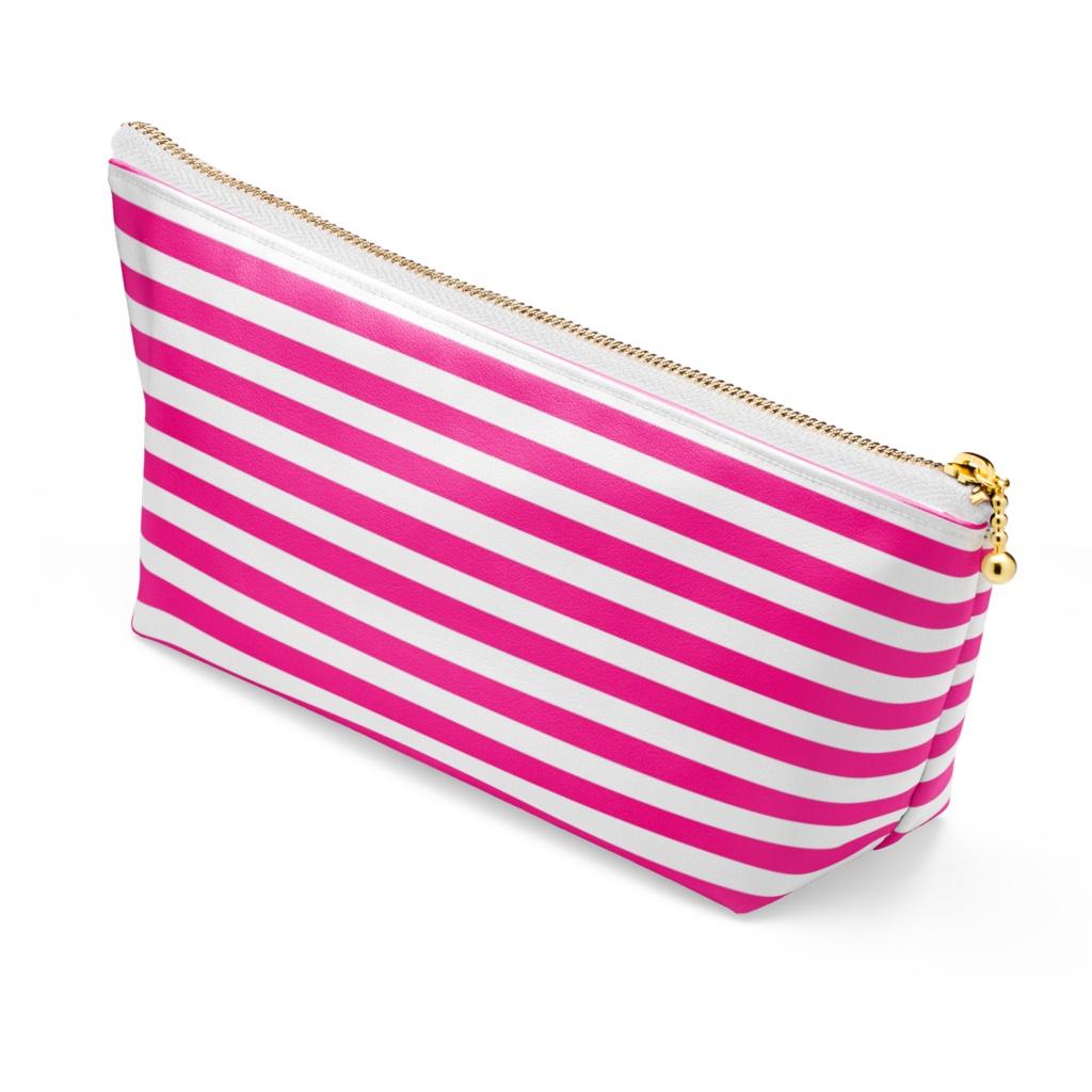 コスメポ―チ ボーダ柄 濃厚ピンク