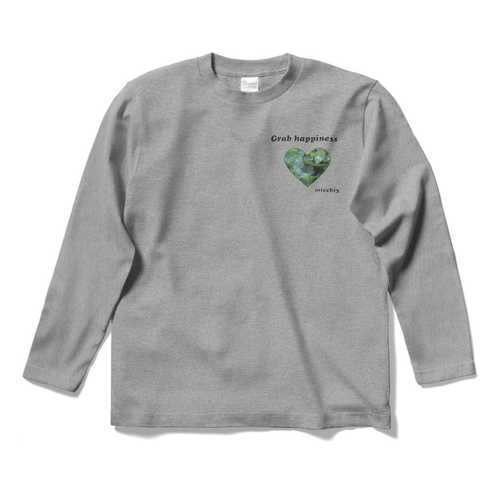 長袖Tシャツ グレー クローバーハート Grab happiness 14466032