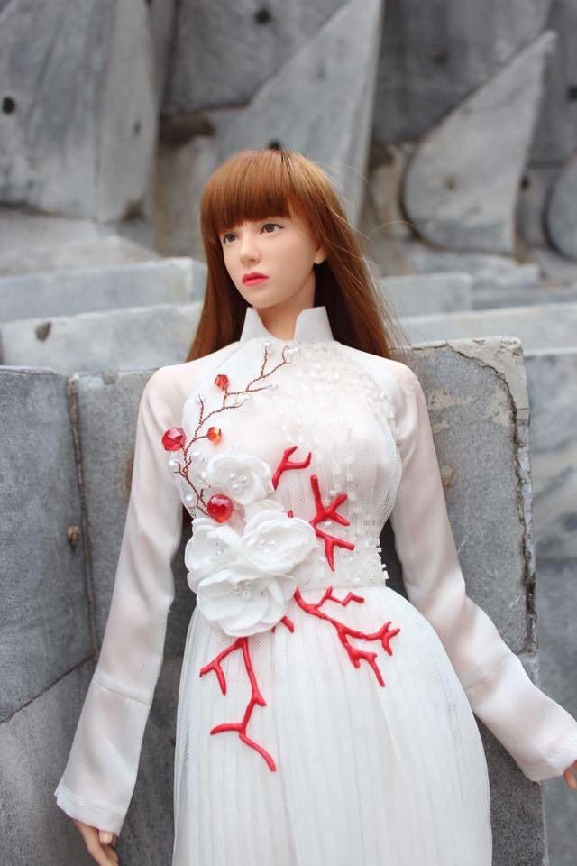 """Pleated AO DAI  """" Red heart made of coral """"(OS-635)"""