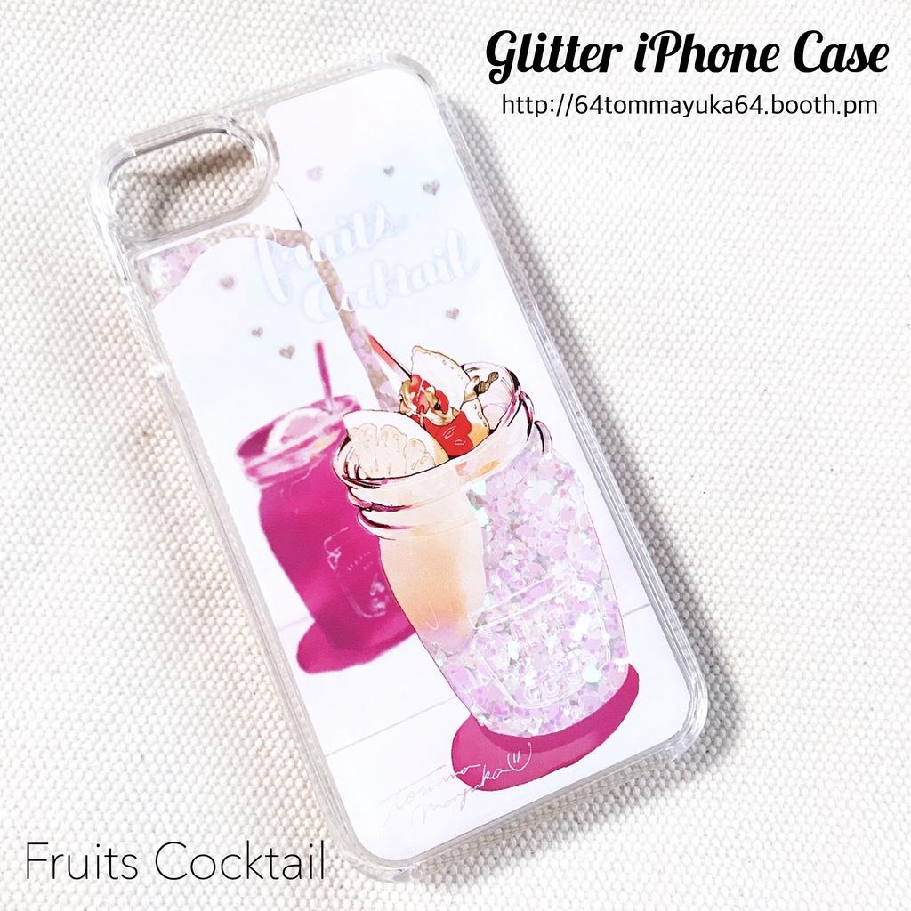 《SALE》グリッターiPhoneケース/フルーツカクテル