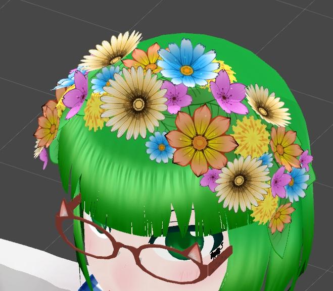 VRChat向け 花のヘッドドレス