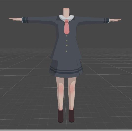 VRchat向け 女制服着せ替え用モデル(胴体のみ)