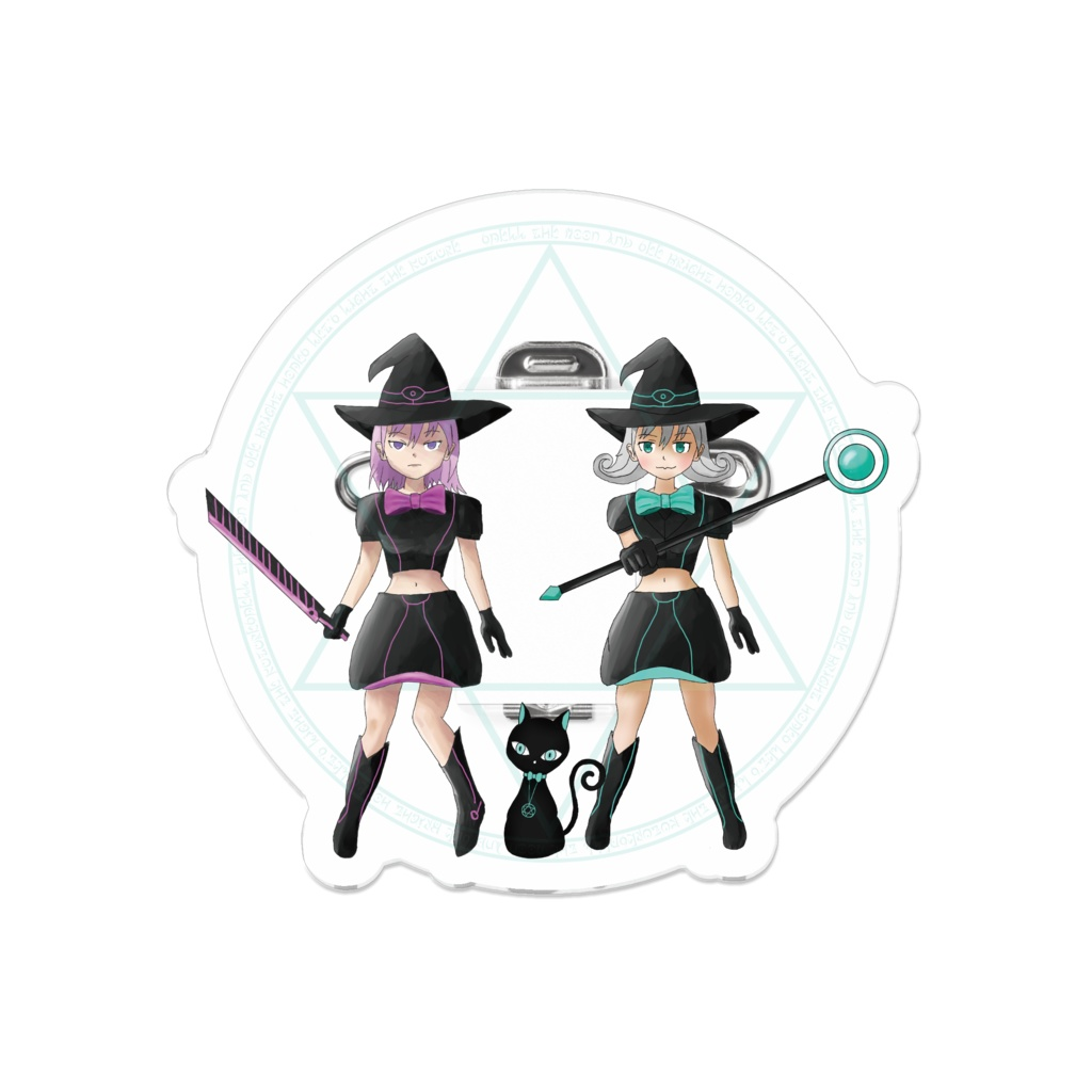 Black Witch Meeting Magic Girl ブラックウィッチ集合 魔法少女 アクリルバッジ