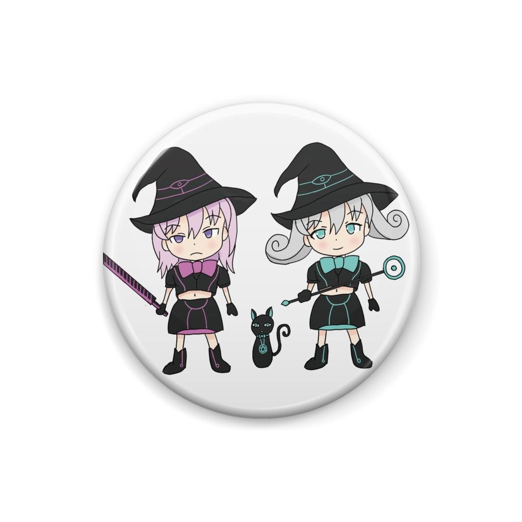 Black Witch Meeting Magic Girl  ブラックウィッチ集合ミニキャラ 魔法少女 缶バッジ