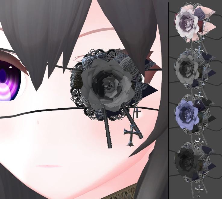 ゴシック調な眼帯(4色差分・紐調整用ボーン入り)