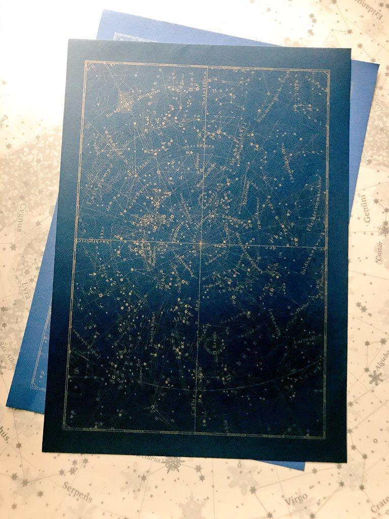 星座図レターパッド(紺金)