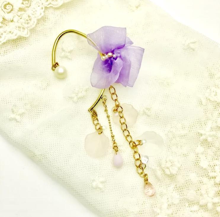 桜色◇リボンのイヤーフック