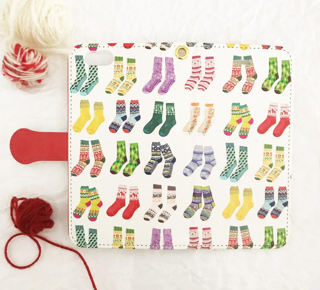 カラフル靴下の手帳型スマホケースA