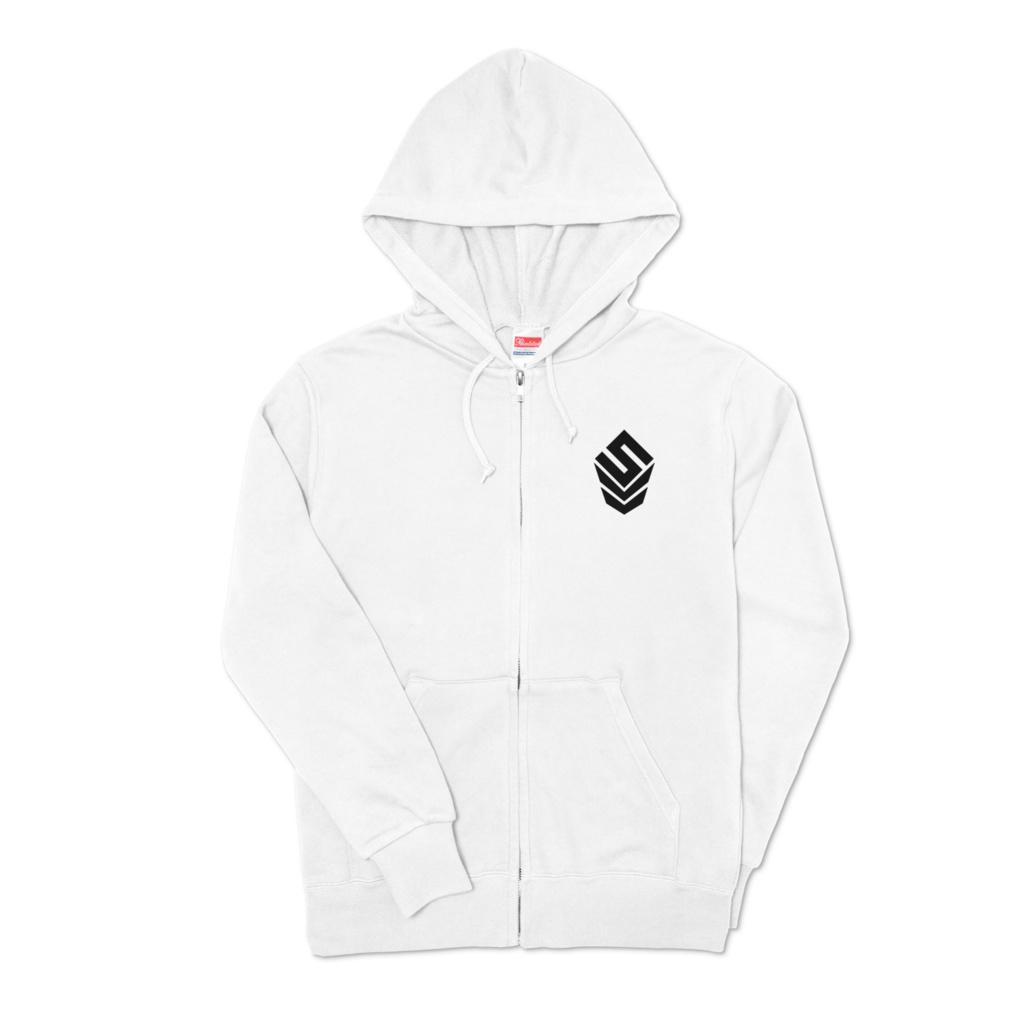 ワンポイントロゴジップパーカー ホワイト 【Logo Zip Hoodie White】