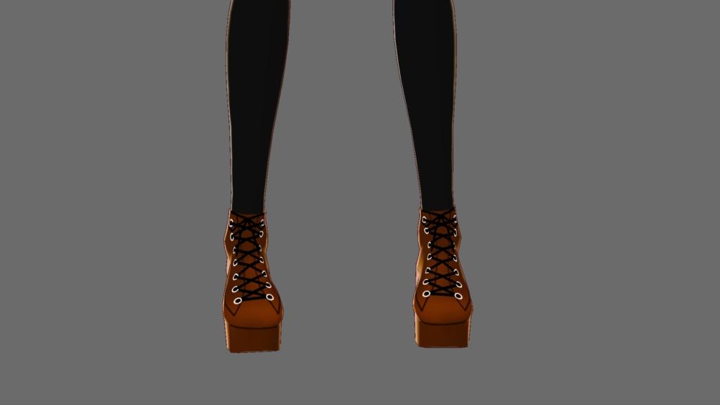 『VRoid&セシル変身』ブーツ(ブラウン、ブラック、レッド)3点セット『ワンピース用テクスチャ』