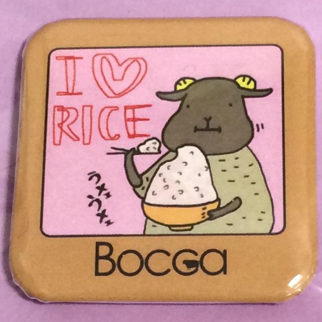 ひつじイラスト缶バッチ スクエアそれなirice Bocca Booth