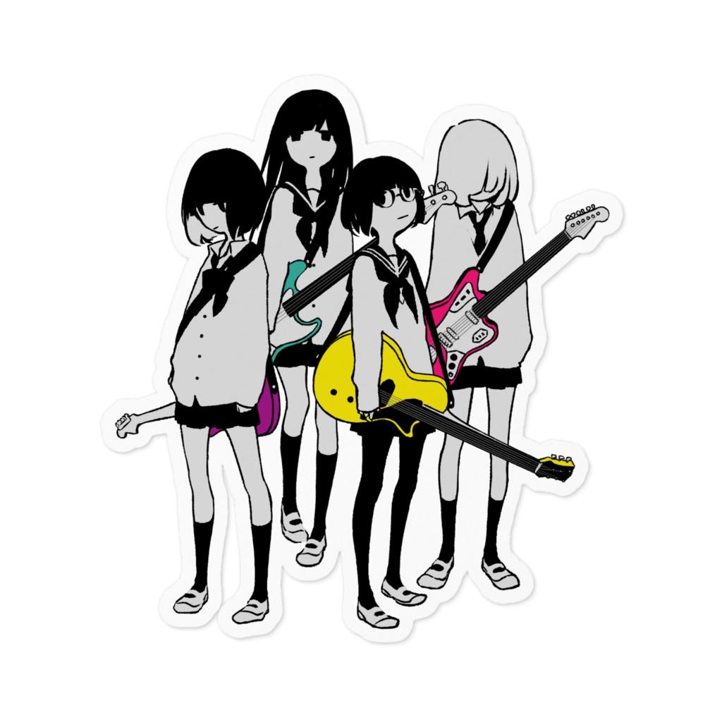 ギター&ベース女子高生のステッカー