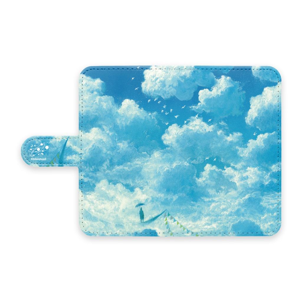 手帳型Androidケース [blue crescent Ship]