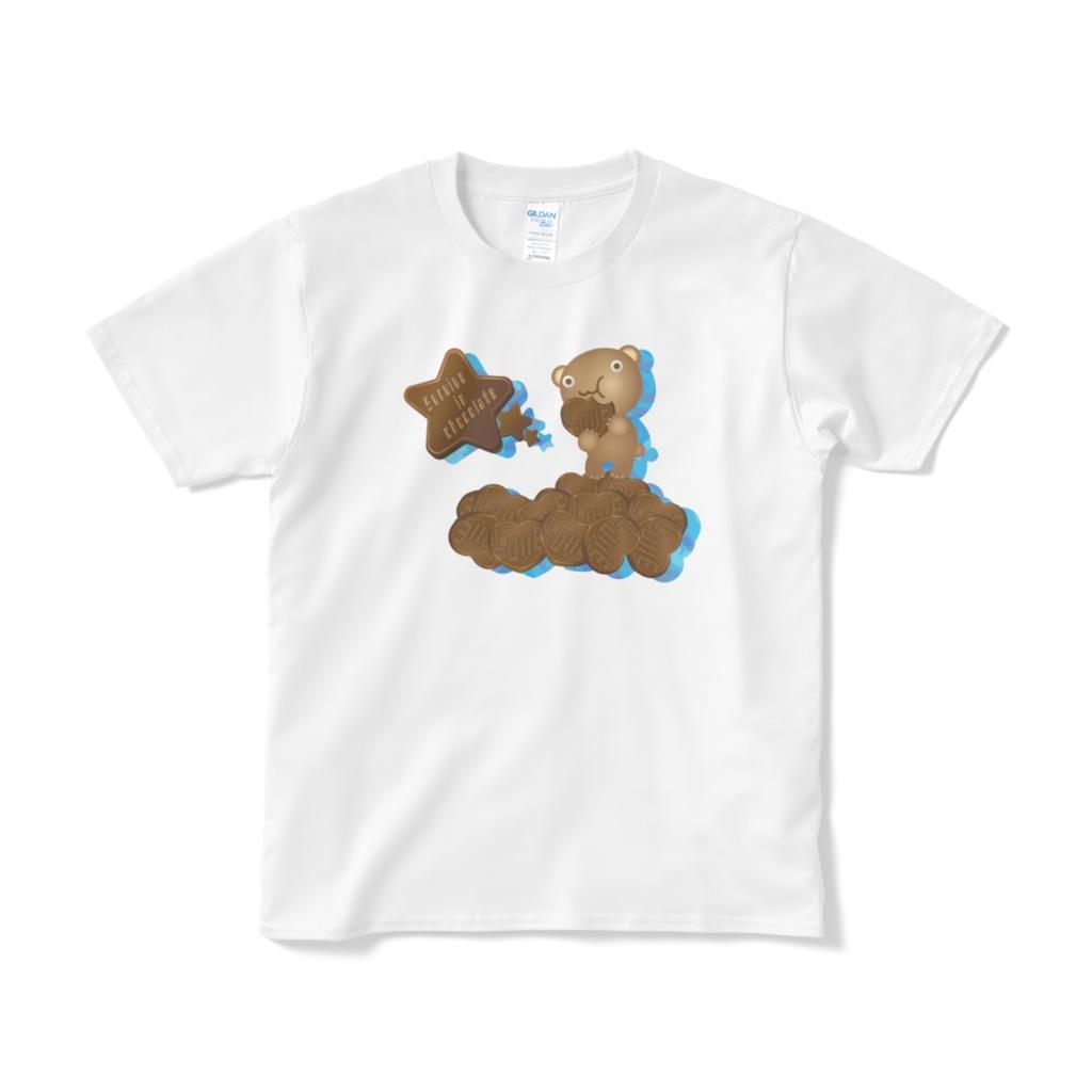 クマチョコ 青 Tシャツ(短納期)