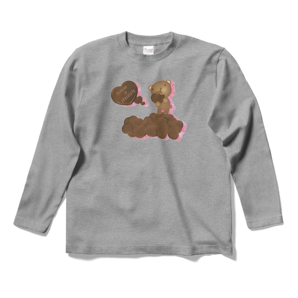クマチョコ 桃 ロングスリーブTシャツ