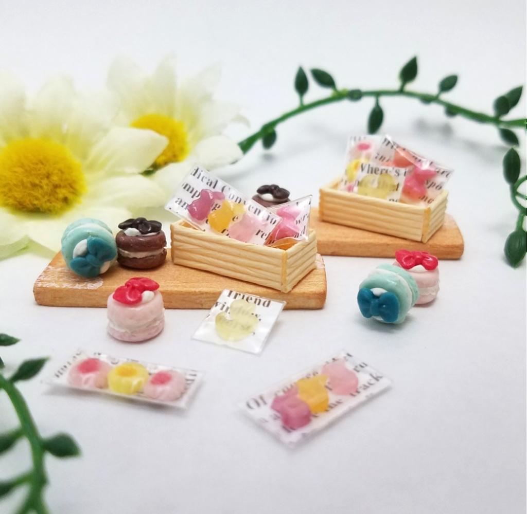 ミニチュアフード♡カラフルリボントゥンカロン&パッケージスイーツセット