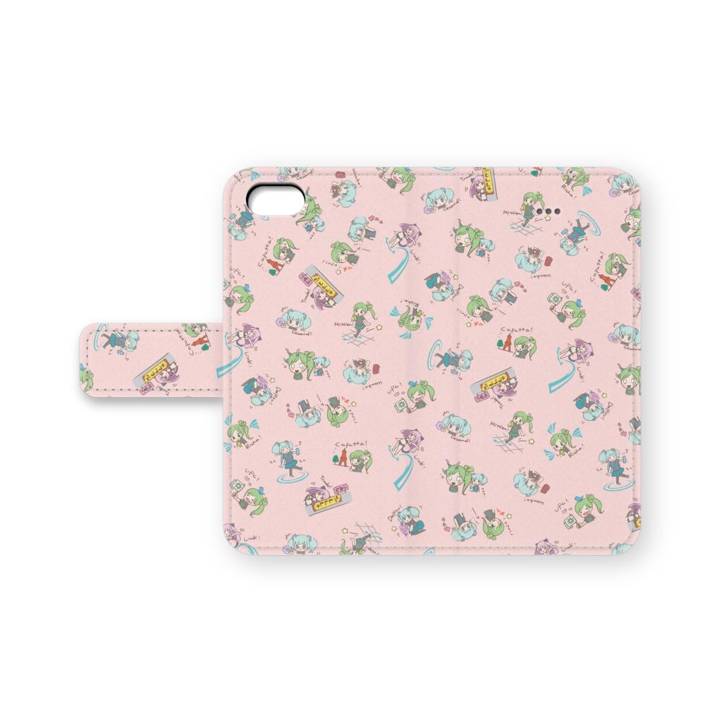 ぐりふはっく娘 手帳型iPhoneケース(ピンク)