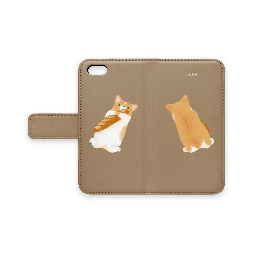 コーギーとフランスパン 手帳型iPhoneケース