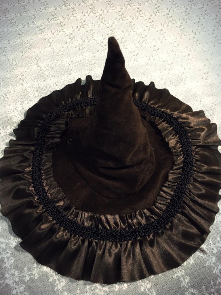 【ダークブラウン×柄白】魔女の帽子